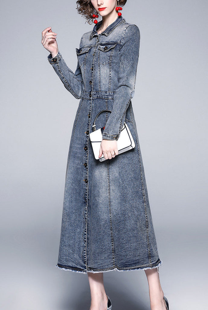 Vintage Slim-Fit Maxi Length Denim Shirt Dress