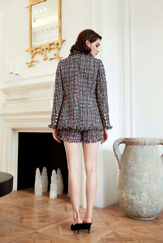 Slim-Fit Pearl Decoration Colorful Fringed Tweed Coat