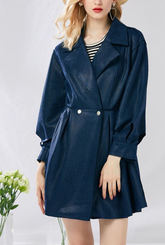 Slim-Fit Sleek Cinched Waist Lapel Collar Overcoat