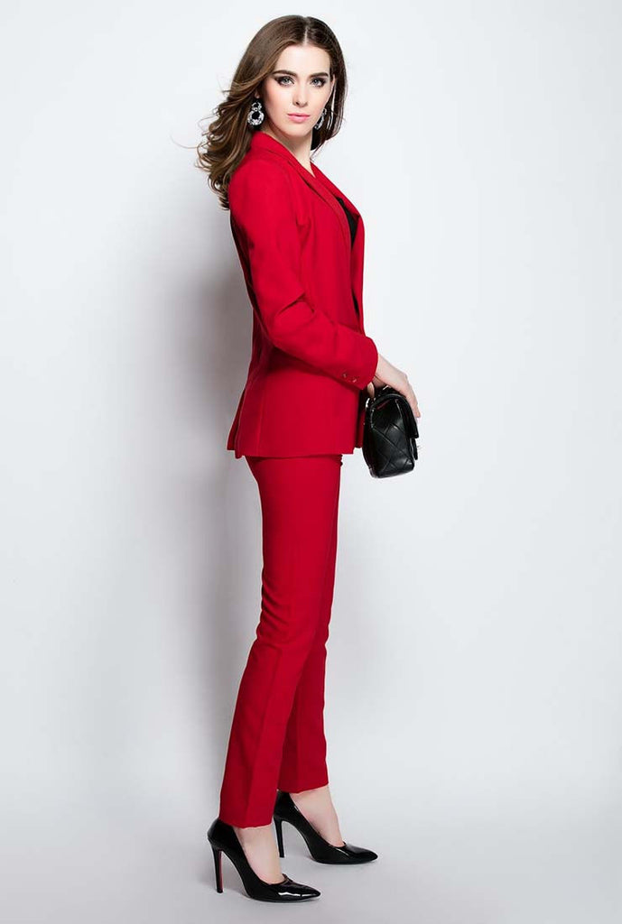 Slim-Fit Solid Blazer & Straight Pants Suits