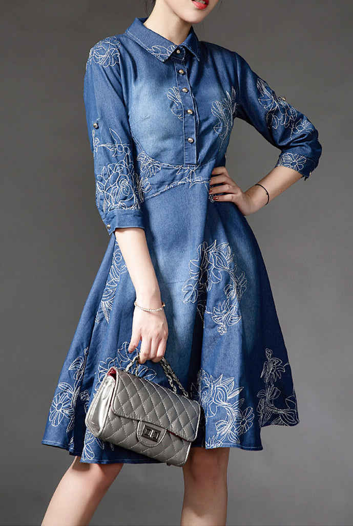 Slim-fit Embroidered Denim Mini Dress