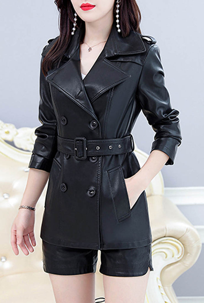 Slim Fit Leather Blazer Trench Coat