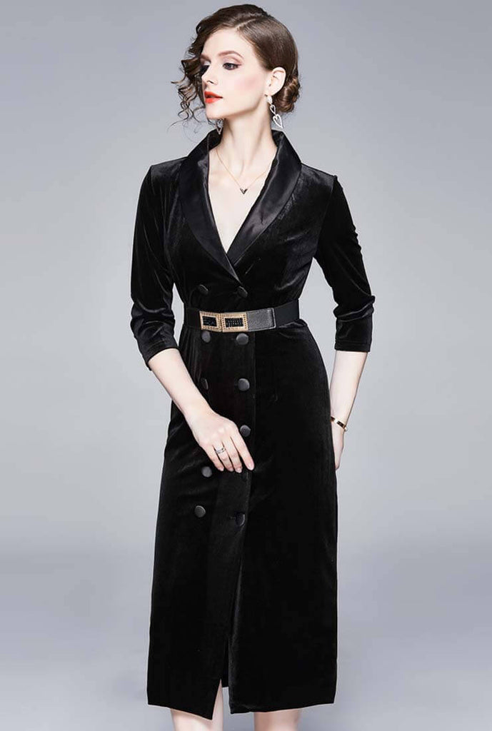 Slim V-neck Belted Black Velvet Midi Dress