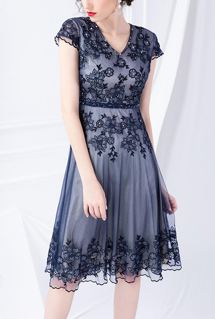 Slim V-neck Embroidered Mesh Midi Dress