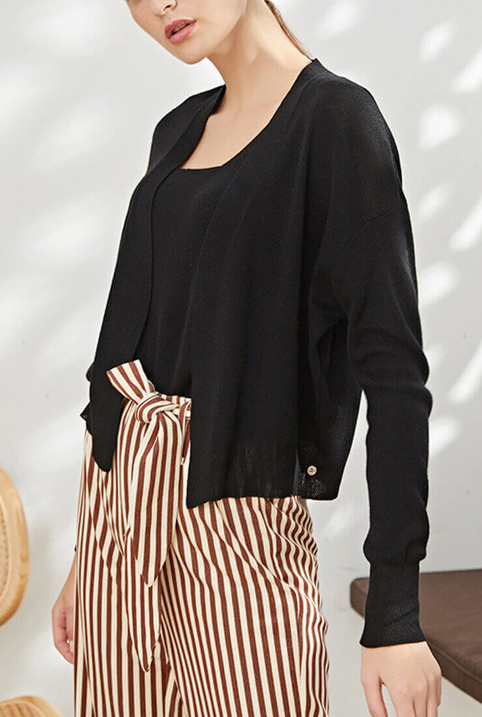 Sling And Cardigan Slim Thin Short Set Sweater