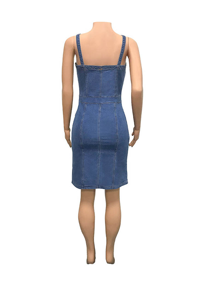 Sling Tight-fitting Hip Sexy Denim Dress