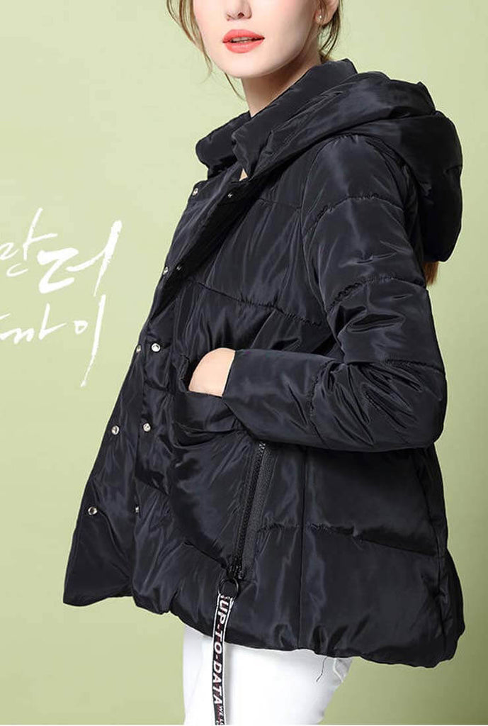 Solid Color A-line Down Hooded Jacket
