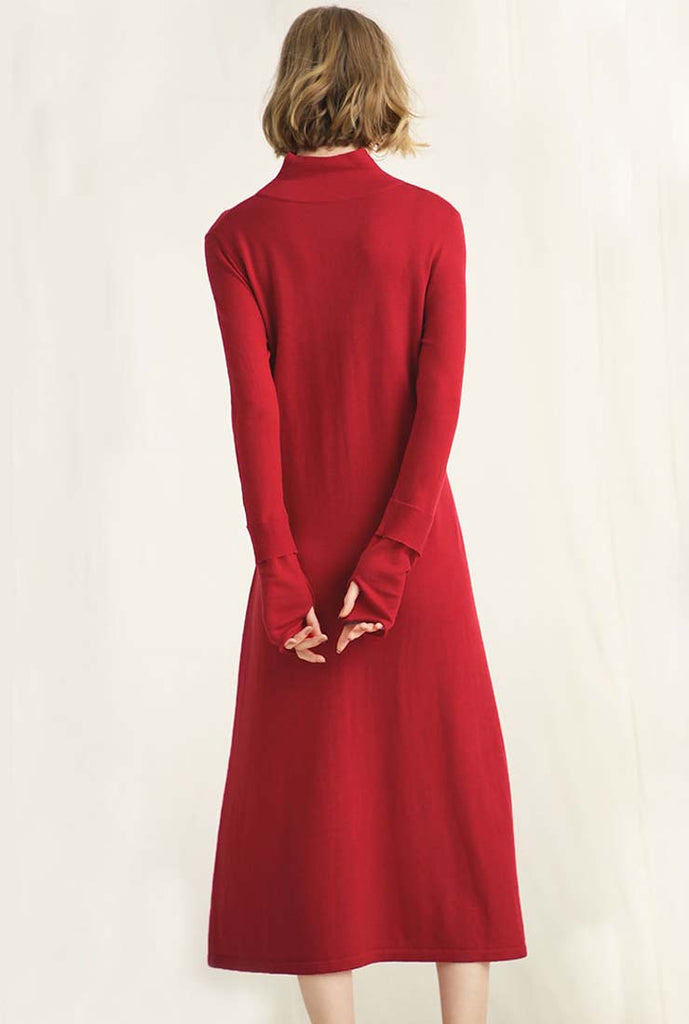 Solid Color Lace Up Wool Knit Sweater Dress