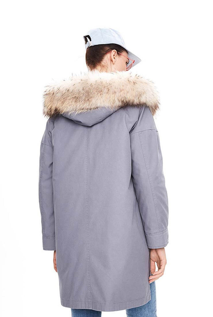 Solid Color Mink Hair Collar Mid-length Cotton Coat