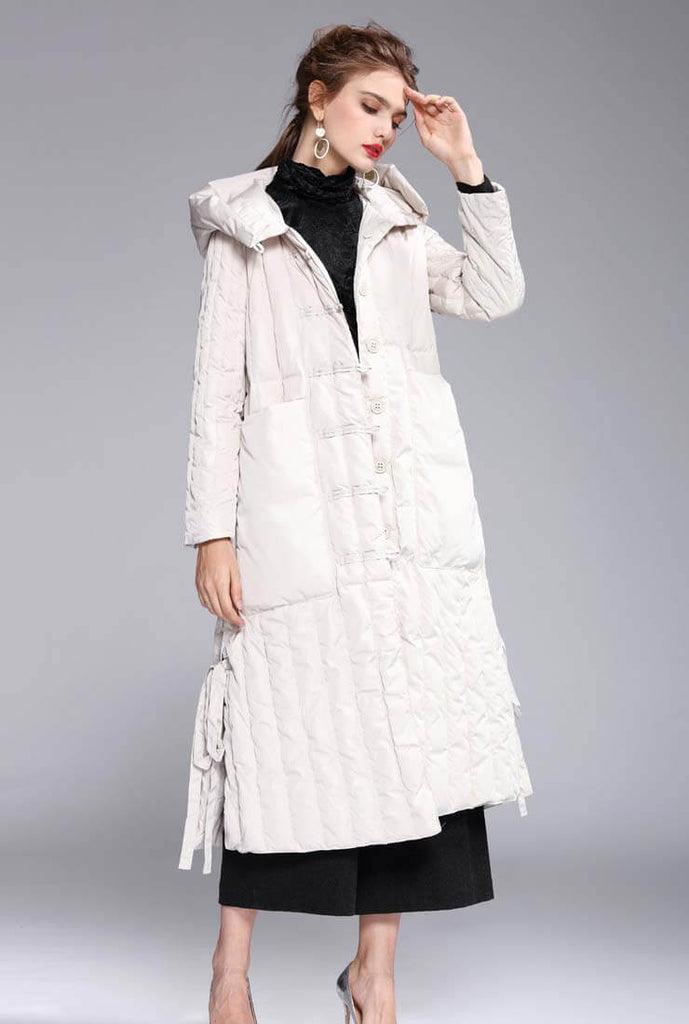 Solid Color Single-breasted Hooded Puffer Coat