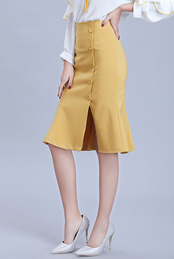 Solid Color Split Waist Slim Fishtail Skirt