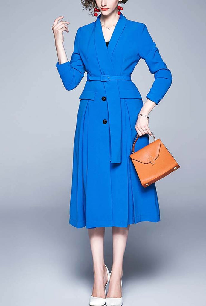 Solid Color V-neck Belted A-line Shirt Dress