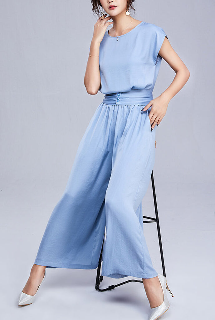 Solid Color Wide Pants Suit