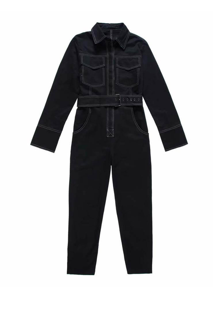 Solid Long Sleeve Boiler Jumpsuit