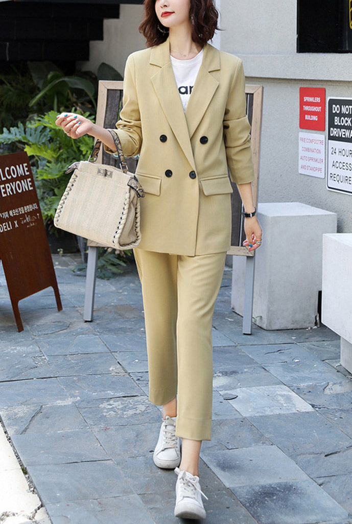 Solid Mid-length Double-Button Blazer & Straight-Leg Pants Suits