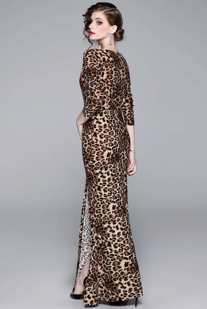 Split Leopard Maxi Cocktail Dress
