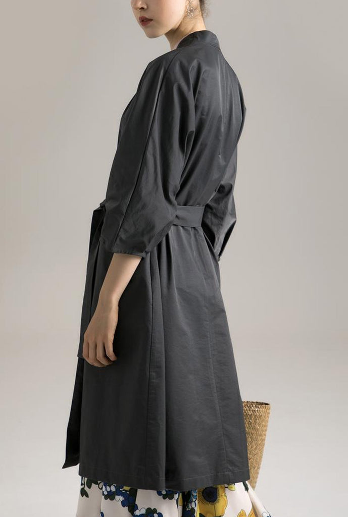 Spring Belted Half-Sleeves Buttonless Mid-Length Coat