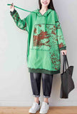 Spring Oversize Floral Hoodies Sweatshirts Dress