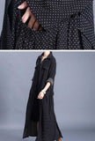 Spring Polka-Dots Print Belted Long Trench Coat