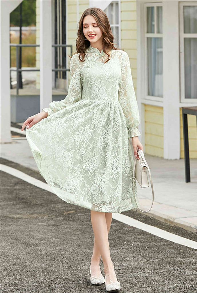 Stand Collar Cheongsam Style High Waist Lace Midi Dress