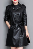 Stand Collar Leather Trench Coat