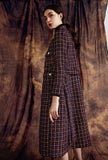 Stand Collar Women's Tweed Long Coat