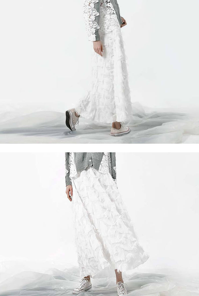 Star Lace Fringed Long Skirt