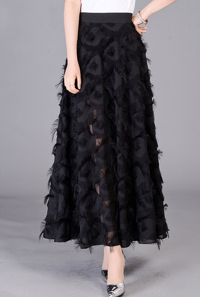 Star Lace Fringed Long Black Skirt