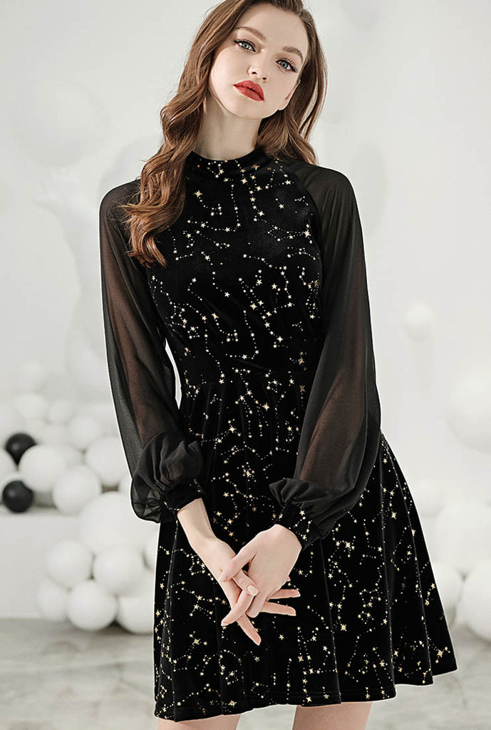 Star Sequined Velvet Lantern Sleeve Midi Dress