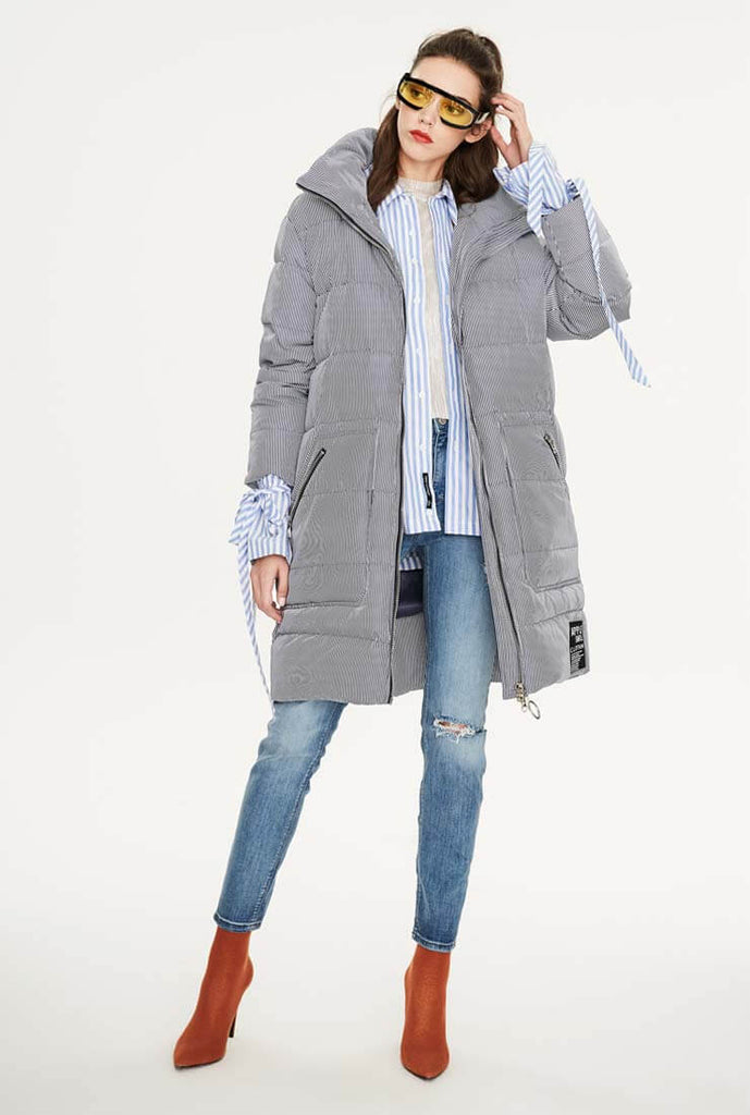 Striped Casual Slim Warm Down Jacket