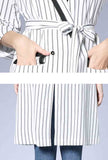 Striped Printed Trench Coat Whit Belt