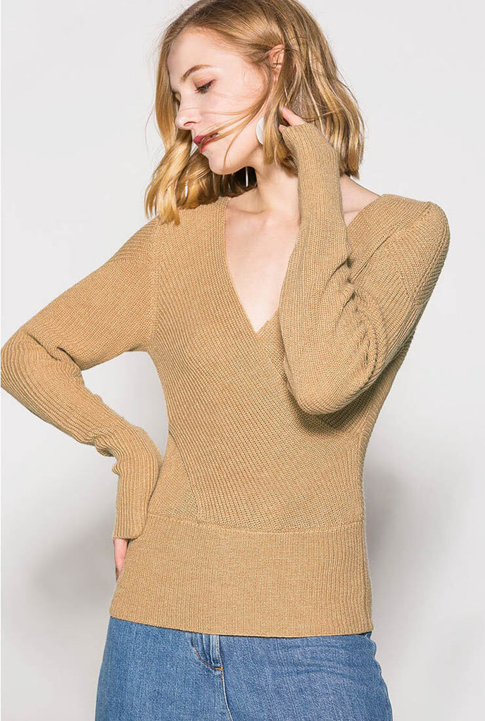 Striped V-neck Long-sleeved Pullover Sweater