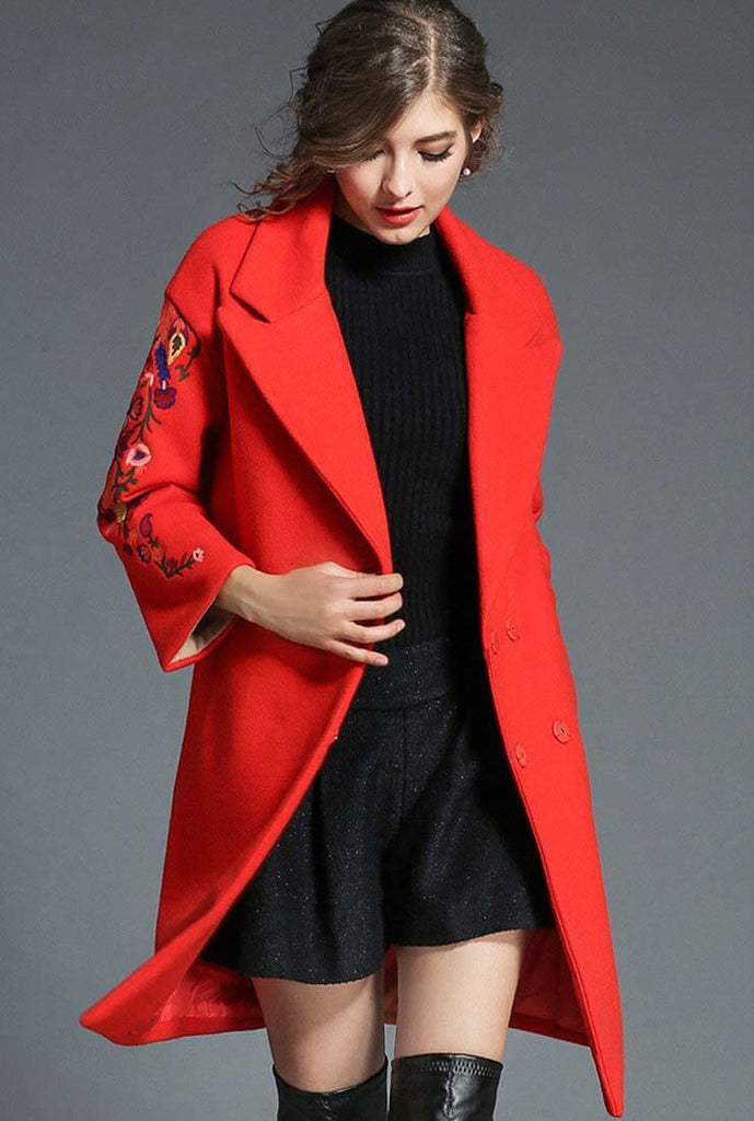 Suit Collar Long Sleeve Embroidered Wool Coat