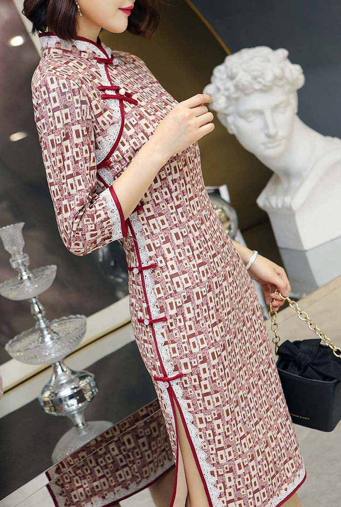 Thicken Long Sleeves Printed Midi Cheongsam Dress