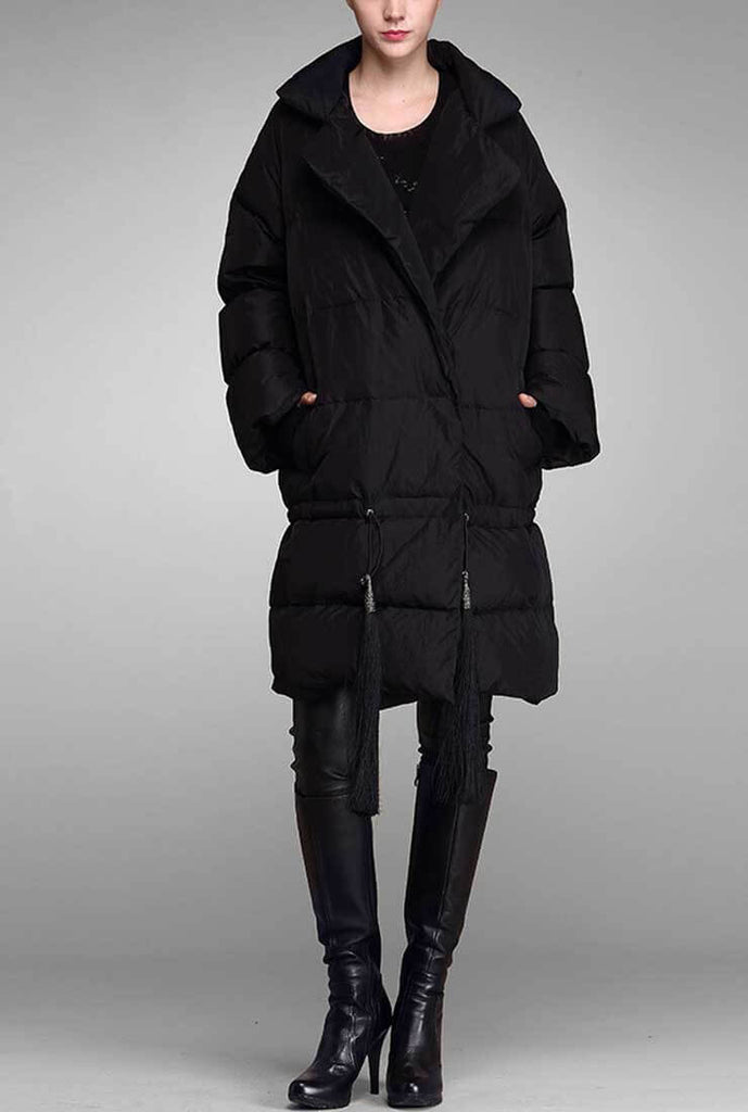 Thicken Loose Fringed Long Down Puffer Jacket