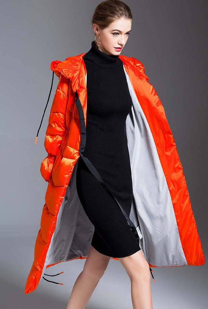 Thicken Mid-length Bright Loose Down Jacket