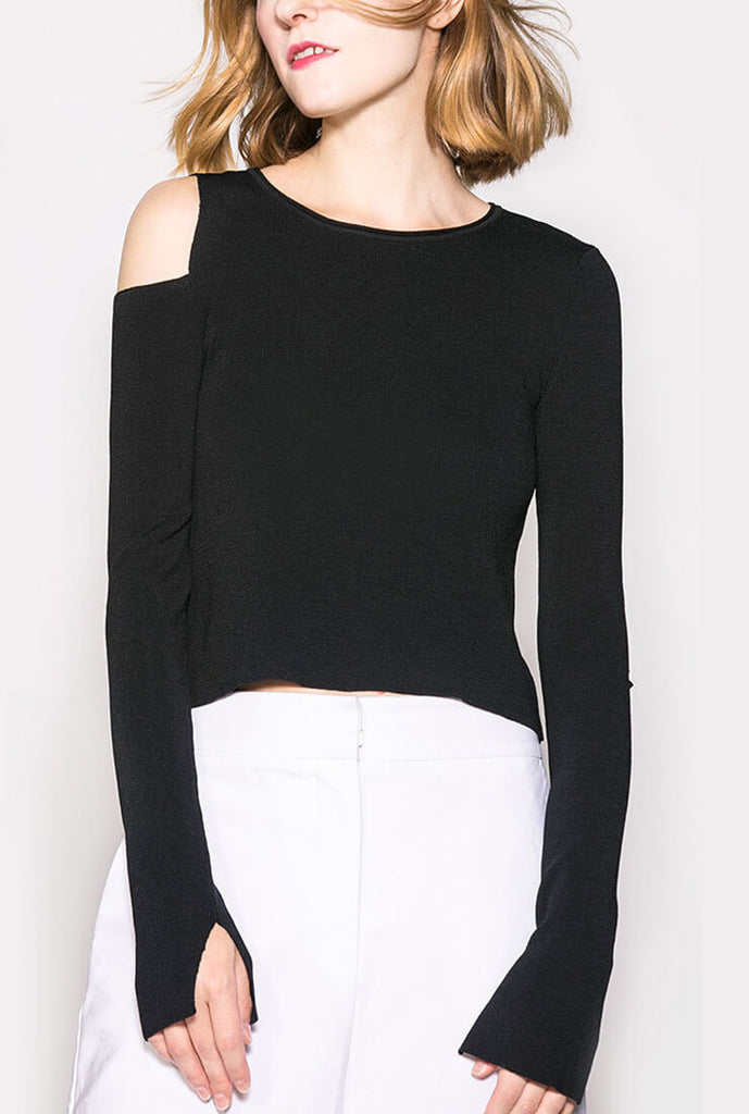 Thin Long Sleeve Off-the-shoulder Pullover