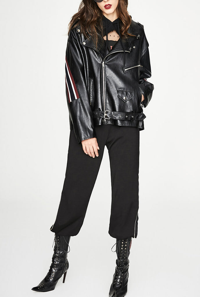 Threaded Loose Short Leather Jacket