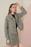 Tweed Bright Silk Jacket And Skirt Two Piece Set