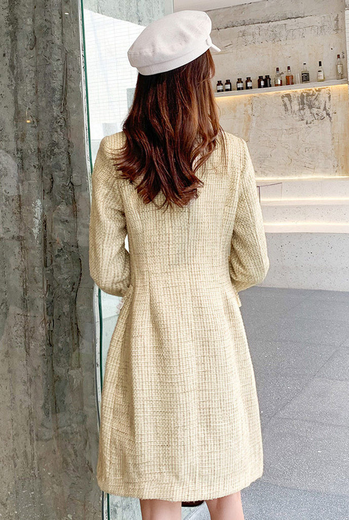 Tweed Long Coat & Midi Vest Dress Two Piece Set