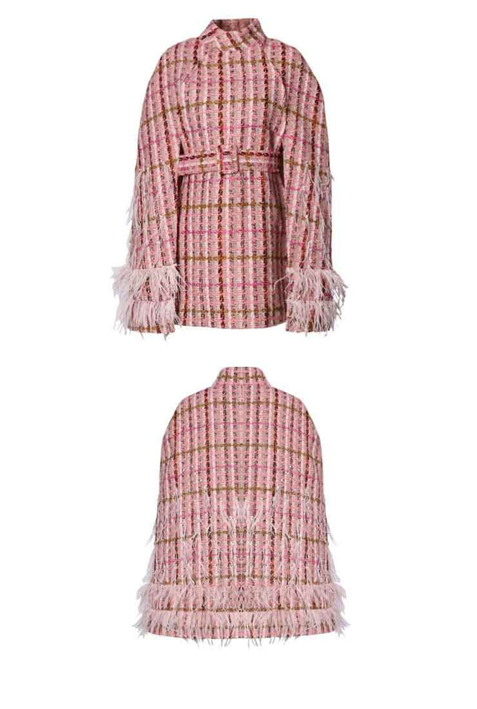 Tweed Plaid Feather Beaded Cape Coat with Belt