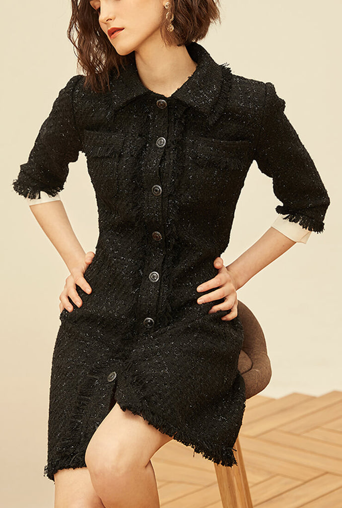 Tweed Single-breasted A-line Slim Shirt Dress
