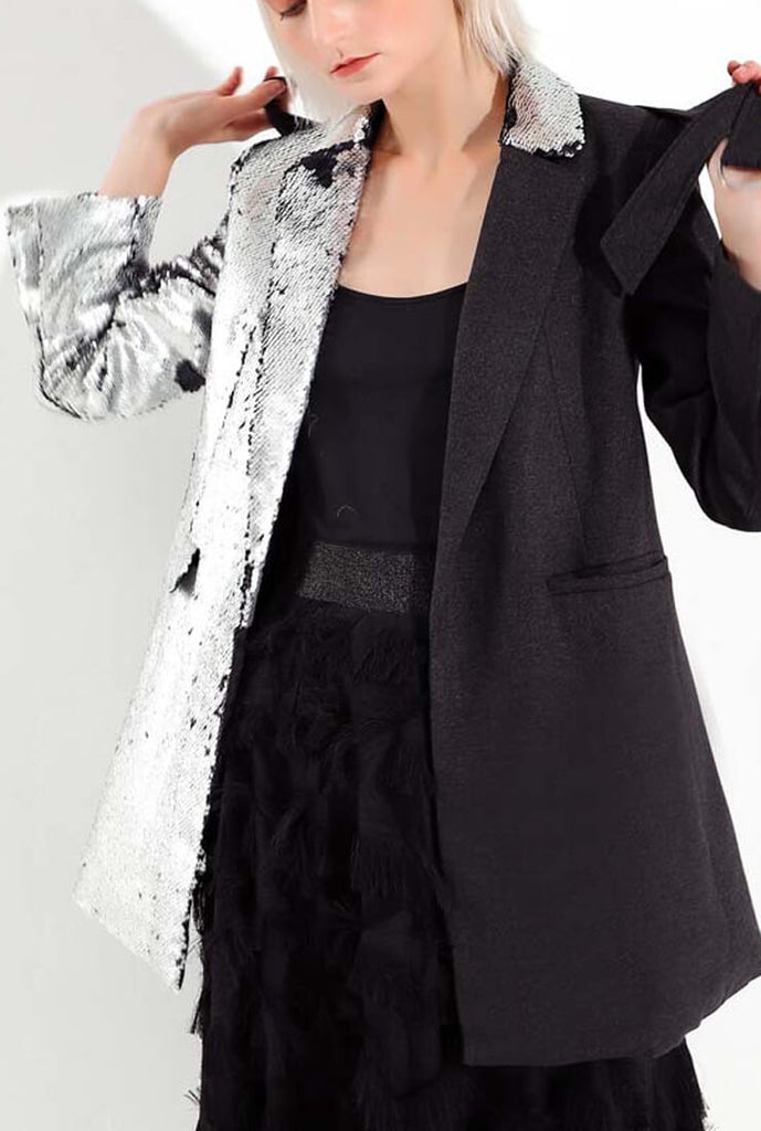 Two-color Sequin Stitching Blazer