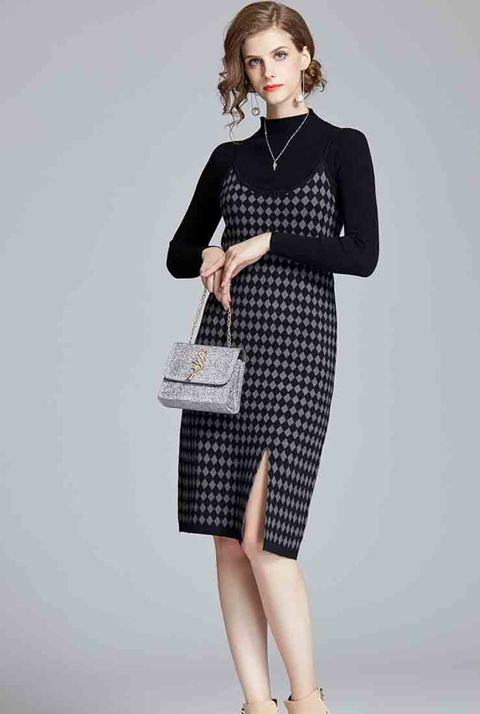 Two-piece Knitted Plaid Camisole Midi Dress