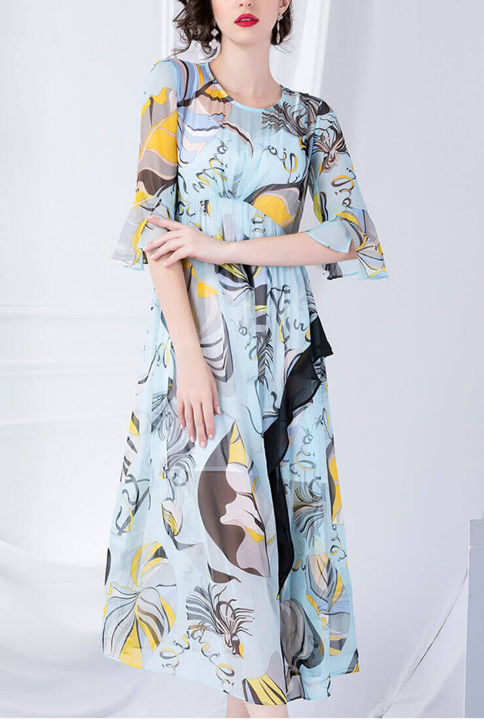 Two-piece Printed 100% Silk Maxi Dress