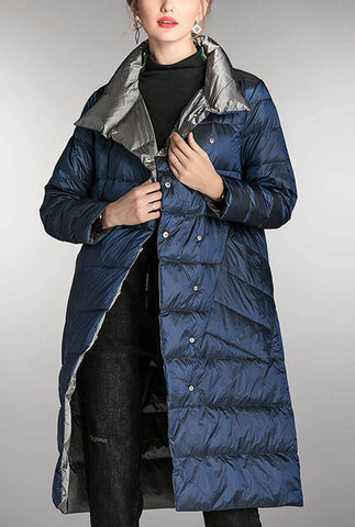 Two-side Lapel Light Down Puffer Long Jacket