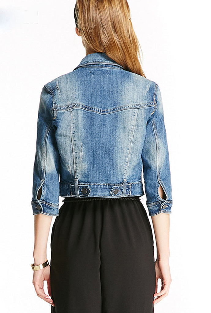 Mid-Sleeve Denim Jacket Short Slim Coat