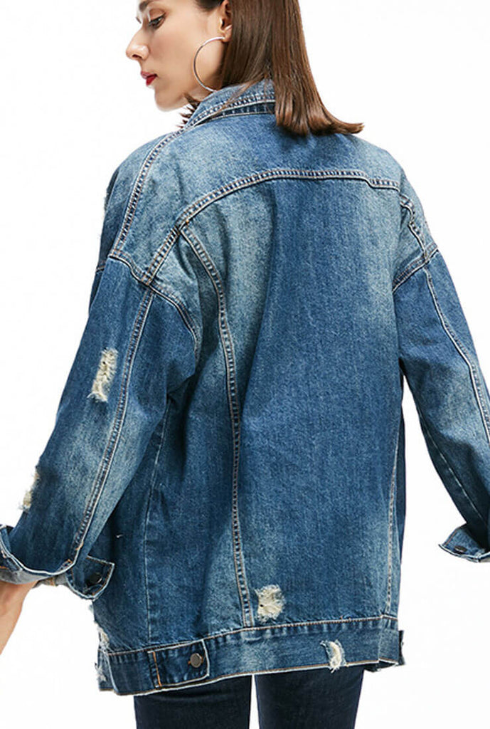 Mid-length Loose Ripped Denim Jacket Coat