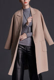 Double-breasted Reversible Cashmere Wool Coat