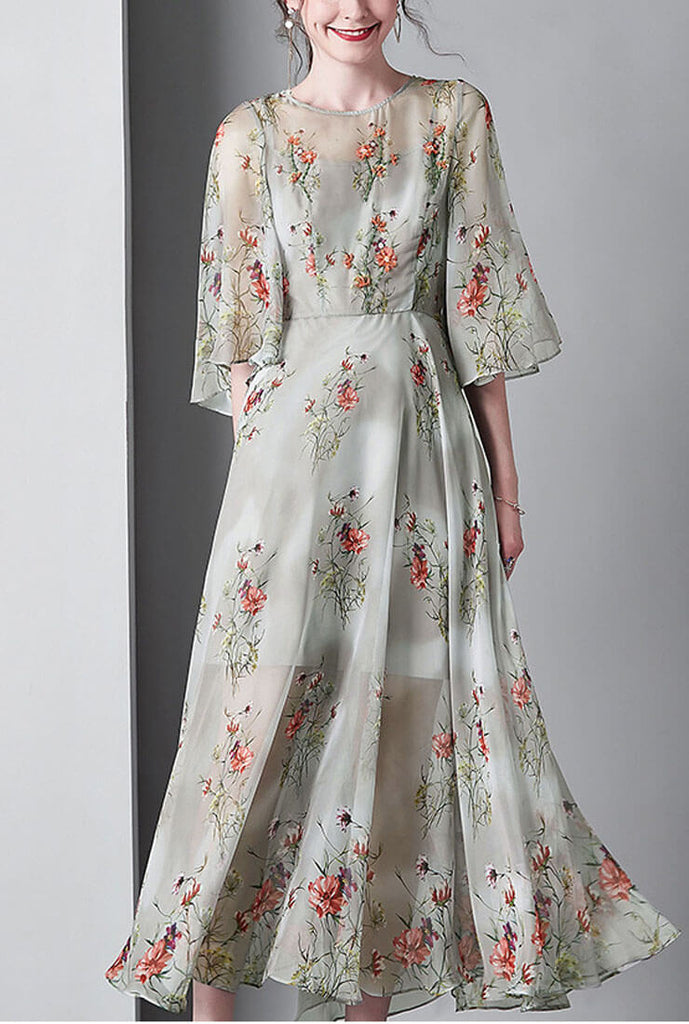 Floral Print Flare Sleeve Loose Maxi Dress
